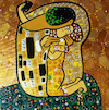 Cartoon: Selfie (small) by Munguia tagged kiss,gustav,klimt,painting,famous,paintings,parodies,version