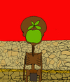 Cartoon: El hijo del Hambre Son of Hunger (small) by Munguia tagged son,of,man,starving,hungry,hunger,africa,african,apple,thin,dry