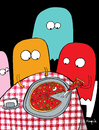 Cartoon: they eat pac man (small) by Munguia tagged pizzapitch,pizza,food,slice,pac,man,ghost,atari,videogame,80,restaurant