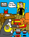 Cartoon: UnFamiliar (small) by Munguia tagged priest nun monja sacerdote padre church femenist role woman religious
