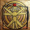 Cartoon: Vitruvian man job before DaVinci (small) by Munguia tagged famous,paintings,parodies,da,vinci,vitruvio,vitruvian,man,draw