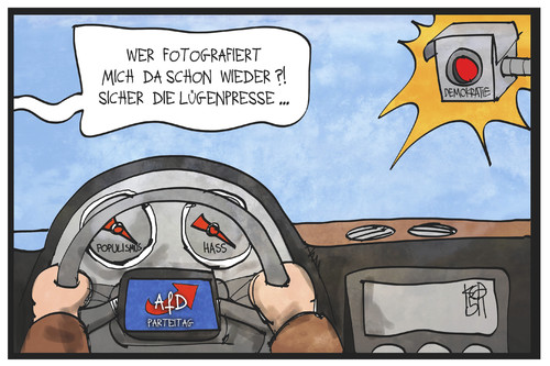 Cartoon: AfD-Parteitag (medium) by Kostas Koufogiorgos tagged karikatur,koufogiorgos,illustration,cartoon,afd,partei,parteitag,demokratie,hass,populismus,amaturenbrett,auto,blitzer,lügenpresse,karikatur,koufogiorgos,illustration,cartoon,afd,partei,parteitag,demokratie,hass,populismus,amaturenbrett,auto,blitzer,lügenpresse