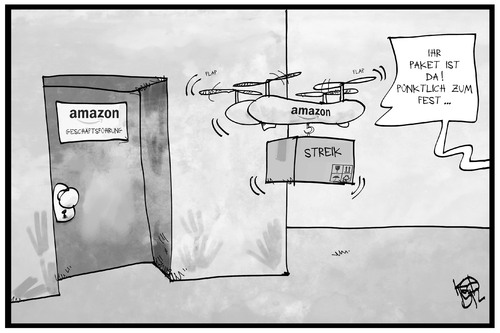 Cartoon: Amazon-Streik (medium) by Kostas Koufogiorgos tagged wirtschaft,weihnachten,fest,drohne,paket,bestellung,lieferung,arbeitskampf,versandhändler,online,cartoon,illustration,koufogiorgos,karikatur,amazon,bei,streik,streik,bei,amazon,karikatur,koufogiorgos,illustration,cartoon,online,versandhändler,arbeitskampf,lieferung,bestellung,paket,drohne,fest,weihnachten,wirtschaft