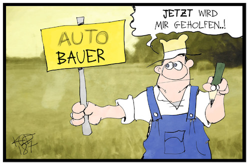 Cartoon: Auto-Bauer (medium) by Kostas Koufogiorgos tagged karikatur,koufogiorgos,illustration,cartoon,bauer,autobauer,hilfe,landwirt,geld,ernteausfall,wirtschaft,ungerechtigkeit,hitzewelle,dürre,karikatur,koufogiorgos,illustration,cartoon,bauer,autobauer,hilfe,landwirt,geld,ernteausfall,wirtschaft,ungerechtigkeit,hitzewelle,dürre