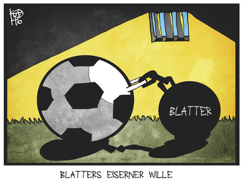 Cartoon: Blatter (medium) by Kostas Koufogiorgos tagged karikatur,koufogiorgos,cartoon,illustration,fifa,blatter,fussball,gefängnis,kette,sport,verband,korruption,karikatur,koufogiorgos,cartoon,illustration,fifa,blatter,fussball,gefängnis,kette,sport,verband,korruption