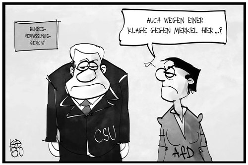 Cartoon: CSU und AfD (medium) by Kostas Koufogiorgos tagged karikatur,koufogiorgos,illustration,cartoon,csu,afd,klage,verfassungsgericht,karlsruhe,politik,partei,regierung,seehofer,petry,rechtsberatung,karikatur,koufogiorgos,illustration,cartoon,csu,afd,klage,verfassungsgericht,karlsruhe,politik,partei,regierung,seehofer,petry,rechtsberatung