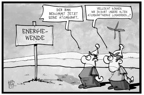 Cartoon: Energiewende (medium) by Kostas Koufogiorgos tagged karikatur,koufogiorgos,illustration,cartoon,energiewende,windkraft,grüne,energie,iran,deal,atomkraft,akw,umwelt,naturschutz,karikatur,koufogiorgos,illustration,cartoon,energiewende,windkraft,grüne,energie,iran,deal,atomkraft,akw,umwelt,naturschutz