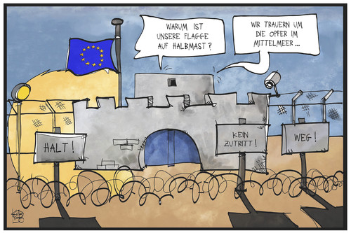 Cartoon: EU-Flüchtlingspolitik (medium) by Kostas Koufogiorgos tagged karikatur,koufogiorgos,illustration,cartoon,eu,europa,flüchtlingspolitik,asyl,festung,abschotten,flagge,halbmast,trauer,politik,karikatur,koufogiorgos,illustration,cartoon,eu,europa,flüchtlingspolitik,asyl,festung,abschotten,flagge,halbmast,trauer,politik