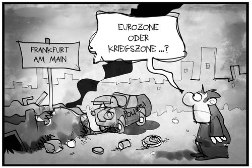 Cartoon: Euro-Kriegszone (medium) by Kostas Koufogiorgos tagged karikatur,koufogiorgos,illustration,cartoon,eurozone,kriegszone,frankfurt,blockupy,vandalismus,protest,ezb,karikatur,koufogiorgos,illustration,cartoon,eurozone,kriegszone,frankfurt,blockupy,vandalismus,protest,ezb