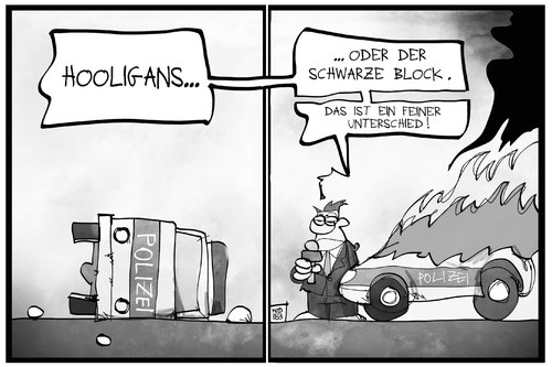 Cartoon: EZB und Blockupy (medium) by Kostas Koufogiorgos tagged karikatur,koufogiorgos,illustration,cartoon,hooligan,schwarzer,block,autonome,krawall,polizei,polizist,polizeiwagen,auto,vandalismus,unterschied,politik,demonstration,eskalation,ausschreitung,karikatur,koufogiorgos,illustration,cartoon,hooligan,schwarzer,block,autonome,krawall,polizei,polizist,polizeiwagen,auto,vandalismus,unterschied,politik,demonstration,eskalation,ausschreitung