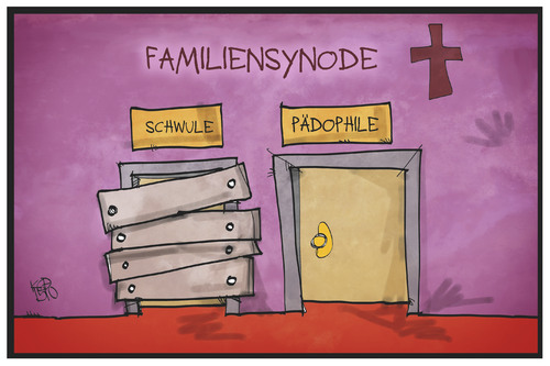 Cartoon: Familiensynode (medium) by Kostas Koufogiorgos tagged karikatur,koufogiorgos,illustration,cartoon,synode,familiensynode,outing,schwul,homosexuell,pädophil,missbrauch,kirche,religion,bischof,katholizismus,papst,vatikan,eingang,karikatur,koufogiorgos,illustration,cartoon,synode,familiensynode,outing,schwul,homosexuell,pädophil,missbrauch,kirche,religion,bischof,katholizismus,papst,vatikan,eingang