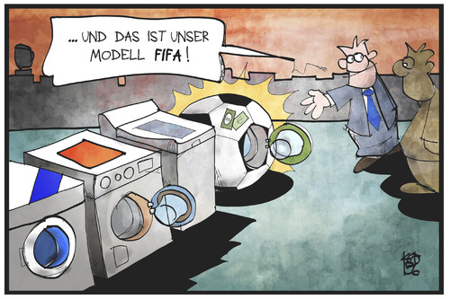 Cartoon: FIFA-Geldwäsche (medium) by Kostas Koufogiorgos tagged karikatur,koufogiorgos,illustration,cartoon,fifa,fussball,sport,weltverband,waschmaschine,geldwäsche,korruption,betrug,geld,karikatur,koufogiorgos,illustration,cartoon,fifa,fussball,sport,weltverband,waschmaschine,geldwäsche,korruption,betrug,geld