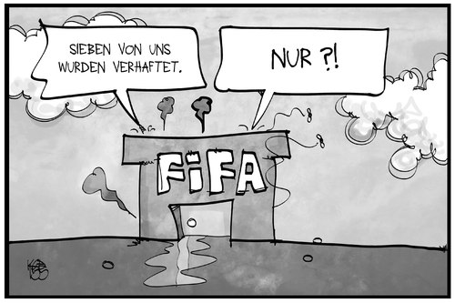 Cartoon: FIFA-Skandal (medium) by Kostas Koufogiorgos tagged karikatur,koufogiorgos,illustration,cartoon,fifa,fussball,verband,sumpf,haus,korruption,verhaftung,karikatur,koufogiorgos,illustration,cartoon,fifa,fussball,verband,sumpf,haus,korruption,verhaftung