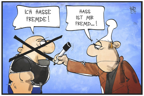 Cartoon: Fremdenhass (medium) by Kostas Koufogiorgos tagged karikatur,koufogiorgos,illustration,cartoon,frem,hass,fremdenhass,michel,deutschland,neonazi,skinhead,rechtsextremismus,rechtsradikal,politik,karikatur,koufogiorgos,illustration,cartoon,frem,hass,fremdenhass,michel,deutschland,neonazi,skinhead,rechtsextremismus,rechtsradikal,politik