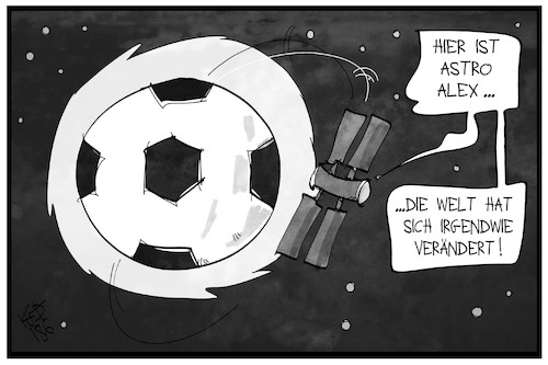 Cartoon: Fußball-Welt (medium) by Kostas Koufogiorgos tagged karikatur,koufogiorgos,illustration,cartoon,fussball,wm,russland,weltmeisterschaft,welt,erde,iss,astro,alex,sport,karikatur,koufogiorgos,illustration,cartoon,fussball,wm,russland,weltmeisterschaft,welt,erde,iss,astro,alex,sport