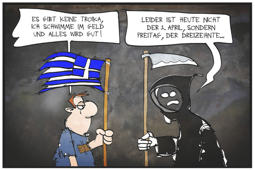 Cartoon: Griechenlands Freitag der 13. (medium) by Kostas Koufogiorgos tagged karikatur,koufogiorgos,illustration,cartoon,freitag,13,unglück,tod,sensenmann,griechenland,problem,sorgen,april,scherz,politik,troika,geld,karikatur,koufogiorgos,illustration,cartoon,freitag,13,unglück,tod,sensenmann,griechenland,problem,sorgen,april,scherz,politik,troika,geld
