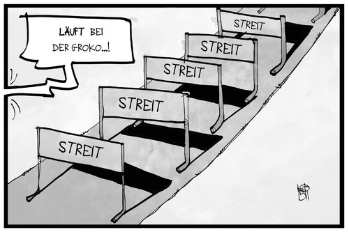 Cartoon: GroKo-Streit (medium) by Kostas Koufogiorgos tagged karikatur,koufogiorgos,illustration,cartoon,groko,lauf,hürde,streit,laufen,hindernis,regierung,cdu,csu,spd,koalition,politik,streitthemen,karikatur,koufogiorgos,illustration,cartoon,groko,lauf,hürde,streit,laufen,hindernis,regierung,cdu,csu,spd,koalition,politik,streitthemen