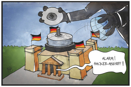 Cartoon: Hacker-Angriff (medium) by Kostas Koufogiorgos tagged karikatur,koufogiorgos,illustration,cartoon,reichstag,bundestag,kuppel,dvd,daten,scheibe,hacker,angriff,cakebox,spionage,politik,karikatur,koufogiorgos,illustration,cartoon,reichstag,bundestag,kuppel,dvd,daten,scheibe,hacker,angriff,cakebox,spionage,politik