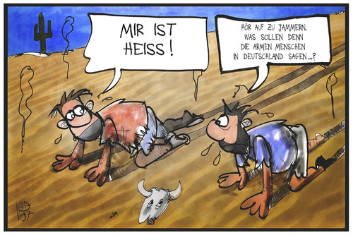 Cartoon: Hitzewelle (medium) by Kostas Koufogiorgos tagged karikatur,koufogiorgos,illustration,cartoon,hitzewelle,wüste,klima,wetter,deutschland,hoch,annelie,sommer,temperatur,karikatur,koufogiorgos,illustration,cartoon,hitzewelle,wüste,klima,wetter,deutschland,hoch,annelie,sommer,temperatur