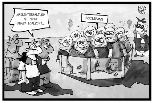 Cartoon: Hooligans (medium) by Kostas Koufogiorgos tagged karikatur,koufogiorgos,illustration,cartoon,massentierhaltung,einpferchen,hooligans,gewalt,em,fussball,sport,polizei,einsperren,verhaften,karikatur,koufogiorgos,illustration,cartoon,massentierhaltung,einpferchen,hooligans,gewalt,em,fussball,sport,polizei,einsperren,verhaften