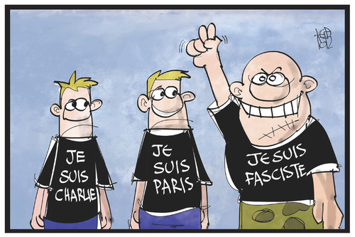 Cartoon: Je suis fasciste (medium) by Kostas Koufogiorgos tagged karikatur,koufogiorgos,illustration,cartoon,frankreich,charlie,paris,terrorismus,faschismus,rechtsruck,demokratie,front,national,regionalwahl,rechtsextremismus,politik,karikatur,koufogiorgos,illustration,cartoon,frankreich,charlie,paris,terrorismus,faschismus,rechtsruck,demokratie,front,national,regionalwahl,rechtsextremismus,politik