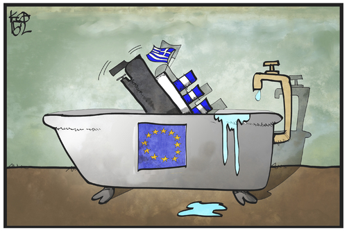 Cartoon: Kommando Untergang (medium) by Kostas Koufogiorgos tagged karikatur,koufogiorgos,cartoon,illustration,griechenland,eu,europa,badewanne,titanic,untergang,havarie,politik,karikatur,koufogiorgos,cartoon,illustration,griechenland,eu,europa,badewanne,titanic,untergang,havarie,politik