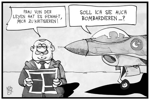 Cartoon: Kritik an der Türkei (medium) by Kostas Koufogiorgos tagged karikatur,koufogiorgos,illustration,cartoon,pkk,is,von,der,leyen,erdogan,flugzeug,militär,angriff,bombardierung,krieg,konflikt,karikatur,koufogiorgos,illustration,cartoon,pkk,is,von,der,leyen,erdogan,flugzeug,militär,angriff,bombardierung,krieg,konflikt