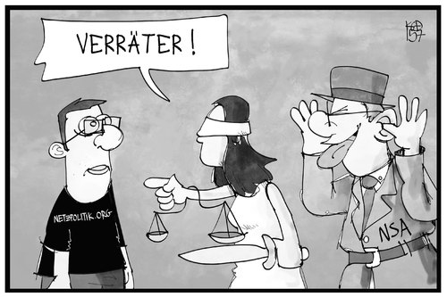 Cartoon: Landesverrat (medium) by Kostas Koufogiorgos tagged karikatur,koufogiorgos,illustration,cartoon,landesverrat,journalist,journalismus,justitia,bundesanwaltschaft,geheimdienst,agent,spion,presse,karikatur,koufogiorgos,illustration,cartoon,landesverrat,journalist,journalismus,justitia,bundesanwaltschaft,geheimdienst,agent,spion,presse