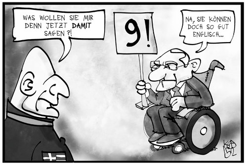 Cartoon: Nine! (medium) by Kostas Koufogiorgos tagged karikatur,koufogiorgos,illustration,cartoon,varoufakis,schaeuble,nine,nein,konflikt,griechenland,deutschland,finanzminister,politik,karikatur,koufogiorgos,illustration,cartoon,varoufakis,schaeuble,nine,nein,konflikt,griechenland,deutschland,finanzminister,politik