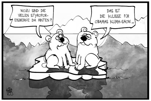 Cartoon: Obama in Alaska (medium) by Kostas Koufogiorgos tagged karikatur,koufogiorgos,illustration,cartoon,eisbär,alaska,obama,klima,erderwärmung,klimawandel,werbetour,kulisse,show,eisberg,umwelt,karikatur,koufogiorgos,illustration,cartoon,eisbär,alaska,obama,klima,erderwärmung,klimawandel,werbetour,kulisse,show,eisberg,umwelt
