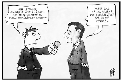 Cartoon: Oettingers Telekomgesetz (medium) by Kostas Koufogiorgos tagged karikatur,koufogiorgos,illustration,cartoon,netzneutralität,günther,oettinger,eu,europa,englisch,digital,kommissar,politik,reporter,interview,medien,karikatur,koufogiorgos,illustration,cartoon,netzneutralität,günther,oettinger,eu,europa,englisch,digital,kommissar,politik,reporter,interview,medien