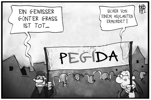 Cartoon: Pegida gibt Antworten (medium) by Kostas Koufogiorgos tagged karikatur,koufogiorgos,illustration,cartoon,günther,grass,pegida,asylant,vorurteil,schuldiger,schuld,demonstration,populismus,karikatur,koufogiorgos,illustration,cartoon,günther,grass,pegida,asylant,vorurteil,schuldiger,schuld,demonstration,populismus