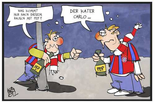 Cartoon: Pep und Carlo (medium) by Kostas Koufogiorgos tagged karikatur,koufogiorgos,cartoon,illustration,pep,carlo,ancelotti,guardiola,fc,bayern,münchen,fussball,sport,verein,club,trainer,coach,fan,betrunken,rausch,alkohol,kater,karikatur,koufogiorgos,cartoon,illustration,pep,carlo,ancelotti,guardiola,fc,bayern,münchen,fussball,sport,verein,club,trainer,coach,fan,betrunken,rausch,alkohol,kater