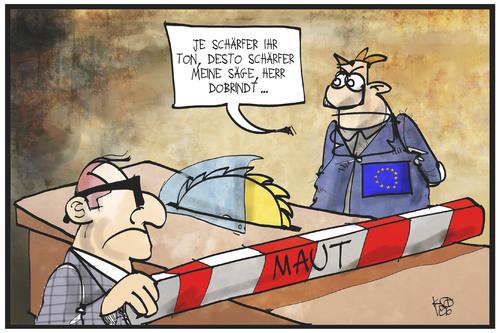 Cartoon: PKW-Maut (medium) by Kostas Koufogiorgos tagged karikatur,koufogiorgos,illustration,cartoon,dobrindt,europa,eu,politiker,politik,maut,säge,scharf,schärfen,zersägen,zerteilen,schranke,abgabe,gebühr,verkehr,karikatur,koufogiorgos,illustration,cartoon,dobrindt,europa,eu,politiker,politik,maut,säge,scharf,schärfen,zersägen,zerteilen,schranke,abgabe,gebühr,verkehr
