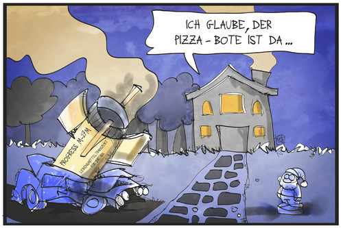 Cartoon: Progress M-27M (medium) by Kostas Koufogiorgos tagged karikatur,koufogiorgos,illustration,cartoon,iss,raumtransporter,frachter,progress,absturz,versorgung,lebensmittel,pizza,lieferdienst,trümmer,raumfahrt,karikatur,koufogiorgos,illustration,cartoon,iss,raumtransporter,frachter,progress,absturz,versorgung,lebensmittel,pizza,lieferdienst,trümmer,raumfahrt