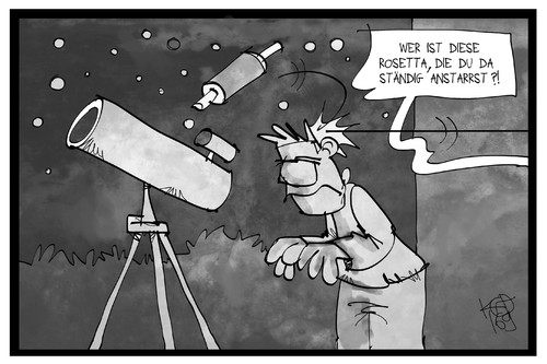 Cartoon: Rosetta (medium) by Kostas Koufogiorgos tagged karikatur,koufogiorgos,illustration,cartoon,rosetta,raumsonde,teleskop,weltall,tschuri,philae,komet,wissenschaft,karikatur,koufogiorgos,illustration,cartoon,rosetta,raumsonde,teleskop,weltall,tschuri,philae,komet,wissenschaft