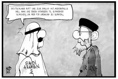 Cartoon: Saudi-Arabien und Iran (medium) by Kostas Koufogiorgos tagged karikatur,koufogiorgos,illustration,cartoon,iran,saudi,arabien,dialog,diplomatie,konflikt,tatort,til,schweiger,tschiller,polizei,karikatur,koufogiorgos,illustration,cartoon,iran,saudi,arabien,dialog,diplomatie,konflikt,tatort,til,schweiger,tschiller,polizei