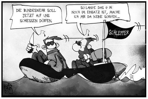 Cartoon: Schlepper (medium) by Kostas Koufogiorgos tagged karikatur,koufogiorgos,illustration,cartoon,schlepper,meer,boot,g36,schießen,treffen,militär,angriff,bundeswehr,gewehr,flüchtlingskrise,mafia,menschenhandel,karikatur,koufogiorgos,illustration,cartoon,schlepper,meer,boot,g36,schießen,treffen,militär,angriff,bundeswehr,gewehr,flüchtlingskrise,mafia,menschenhandel
