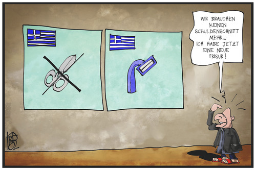 Cartoon: Schuldenschnitt (medium) by Kostas Koufogiorgos tagged karikatur,koufogiorgos,illustration,cartoon,varoufakis,griechenland,schulden,schnitt,frisur,wirtschaft,politik,finanzminister,karikatur,koufogiorgos,illustration,cartoon,varoufakis,griechenland,schulden,schnitt,frisur,wirtschaft,politik,finanzminister