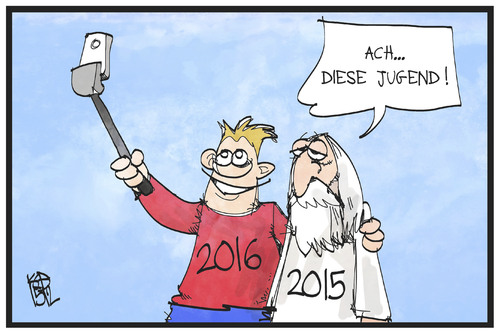 Cartoon: Selfie mit 2016 (medium) by Kostas Koufogiorgos tagged karikatur,koufogiorgos,illustration,cartoon,2016,silvester,neujahr,2015,jugend,alter,selfie,trend,karikatur,koufogiorgos,illustration,cartoon,2016,silvester,neujahr,2015,jugend,alter,selfie,trend