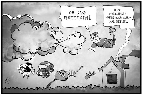 Cartoon: Sturm im April (medium) by Kostas Koufogiorgos tagged karikatur,koufogiorgos,illustration,cartoon,sturm,niklas,orkan,tief,april,fliegen,wetter,klima,unwetter,scherz,aprilscherz,karikatur,koufogiorgos,illustration,cartoon,sturm,niklas,orkan,tief,april,fliegen,wetter,klima,unwetter,scherz,aprilscherz