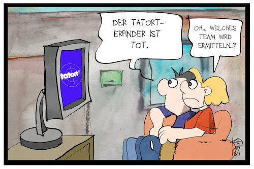 Cartoon: Tatort-Ermittlung (medium) by Kostas Koufogiorgos tagged karikatur,koufogiorgos,illustration,cartoon,tatort,erfinder,wdr,witte,ermittler,team,ard,fernsehen,krimi,tradition,zuschauer,medien,spielfilm,karikatur,koufogiorgos,illustration,cartoon,tatort,erfinder,wdr,witte,ermittler,team,ard,fernsehen,krimi,tradition,zuschauer,medien,spielfilm