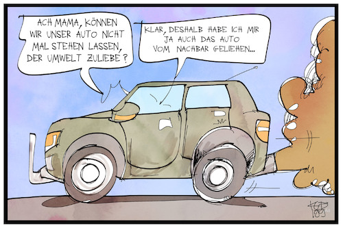 Cartoon: Umweltbewusstsein (medium) by Kostas Koufogiorgos tagged karikatur,koufogiorgos,illustration,cartoon,klima,klimastreik,suv,dieselgate,mutter,kind,panzer,strassenverkehr,auto,karikatur,koufogiorgos,illustration,cartoon,klima,klimastreik,suv,dieselgate,mutter,kind,panzer,strassenverkehr,auto