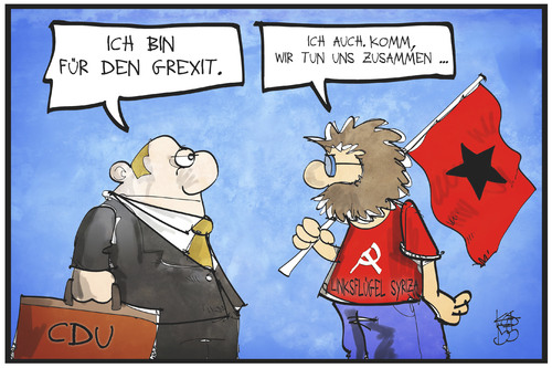 Cartoon: Union für den Grexit (medium) by Kostas Koufogiorgos tagged karikatur,koufogiorgos,illustration,cartoon,union,cdu,syriza,griechenland,grexit,euro,austritt,europa,währungsunion,kommunist,konservativ,politik,karikatur,koufogiorgos,illustration,cartoon,union,cdu,syriza,griechenland,grexit,euro,austritt,europa,währungsunion,kommunist,konservativ,politik