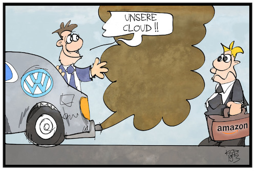 Cartoon: Volkswagen-Cloud (medium) by Kostas Koufogiorgos tagged karikatur,koufogiorgos,illustration,cartoon,volkswagen,cloud,amazon,dieselgate,abgas,digitalisierung,autobauer,wirtschaft,karikatur,koufogiorgos,illustration,cartoon,volkswagen,cloud,amazon,dieselgate,abgas,digitalisierung,autobauer,wirtschaft