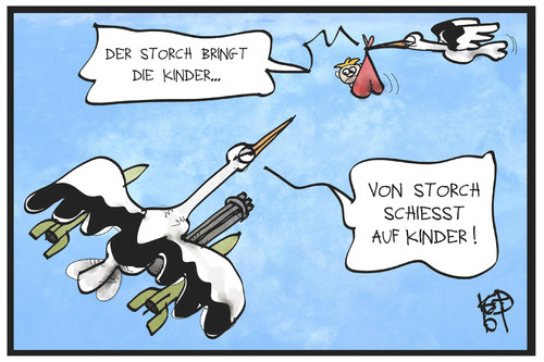Cartoon: Von Storch schießt (medium) by Kostas Koufogiorgos tagged karikatur,koufogiorgos,illustration,cartoon,storch,afd,kind,schießbefehl,politik,flüchtlingspolitik,gewalt,karikatur,koufogiorgos,illustration,cartoon,storch,afd,kind,schießbefehl,politik,flüchtlingspolitik,gewalt
