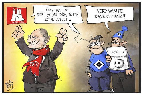Cartoon: Wahl in Hamburg (medium) by Kostas Koufogiorgos tagged karikatur,koufogiorgos,illustration,cartoon,hamburg,spd,rote,hsv,bayern,münchen,fussball,wahl,bürgerschaft,scholz,bürgermeister,politik,karikatur,koufogiorgos,illustration,cartoon,hamburg,spd,rote,hsv,bayern,münchen,fussball,wahl,bürgerschaft,scholz,bürgermeister,politik