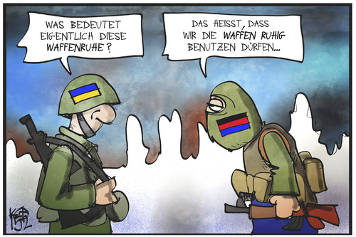 Cartoon: Was bedeutet Waffenruhe? (medium) by Kostas Koufogiorgos tagged karikatur,koufogiorgos,cartoon,illustration,ukraine,separatist,soldat,waffen,ruhe,krieg,konflikt,politik,krise,donbass,karikatur,koufogiorgos,cartoon,illustration,ukraine,separatist,soldat,waffen,ruhe,krieg,konflikt,politik,krise,donbass