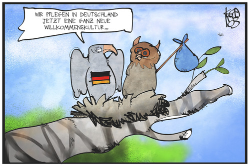 Cartoon: Willkommenskultur (medium) by Kostas Koufogiorgos tagged karikatur,koufogiorgos,cartoon,illustration,deutschland,bundesadler,willkommenskultur,eule,nest,vogel,einwanderung,migration,politik,karikatur,koufogiorgos,cartoon,illustration,deutschland,bundesadler,willkommenskultur,eule,nest,vogel,einwanderung,migration,politik
