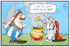 Cartoon: 60 Jahre Asterix (small) by Kostas Koufogiorgos tagged karikatur,koufogiorgos,illustration,cartoon,asterix,uderzo,comic,geschichte,kultur,kunst,obelix,miraculix,druide,zaubertrank